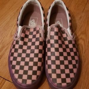 Pink and black rubber checker Vans